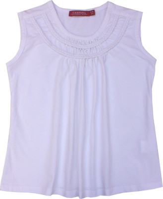 Campana Solid Girl's Round Neck White T-Shirt