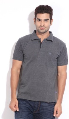 Happy Hours Solid Men's Polo Neck Grey T-Shirt