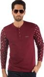 Rodid Solid Men's Henley Maroon T-Shirt