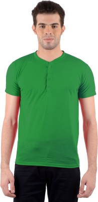 Gdivine Solid Men's Henley Green T-Shirt