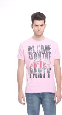 OCTAVE Printed Men's Round Neck Pink T-Shirt