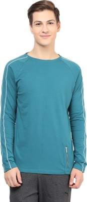 Atorse Solid Men's Round Neck Blue T-Shirt