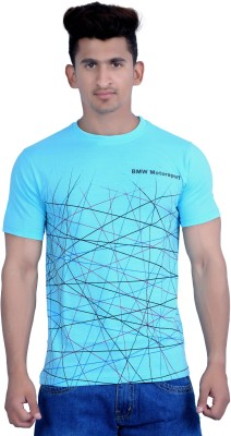 Parv Collections Printed Men's Round Neck Light Blue T-Shirt