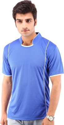 Being Champion Solid Men's Flap Collar Neck Blue T-Shirt