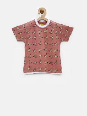 YK Printed Baby Boy's Round Neck Pink T-Shirt