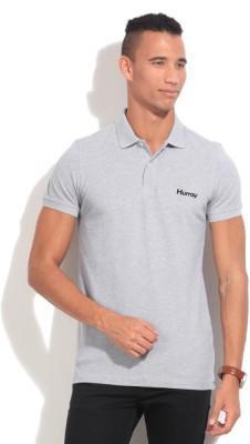 Hurray Solid Men's Polo Neck Grey T-Shirt