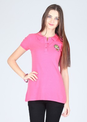 Ed Hardy Printed Women's Polo Pink T-Shirt