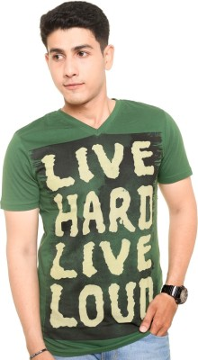 Zwizdot Printed Men,s V-neck Green T-Shirt