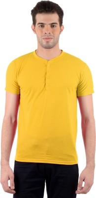 Gdivine Solid Men's Henley Yellow T-Shirt