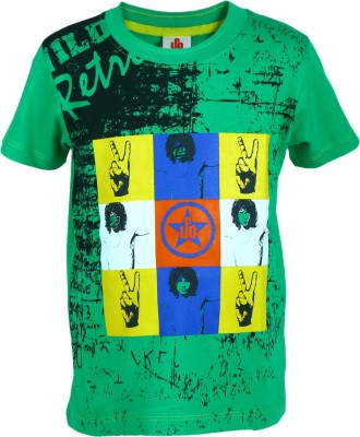 UFO Graphic Print Boy's Round Neck Green T-Shirt