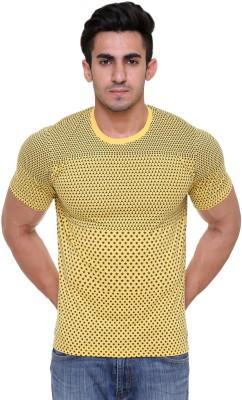 FREE RUNNER Printed Men's Round Neck Yellow T-Shirt