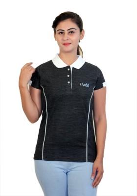WASP Embellished Women's Polo Neck Black T-Shirt