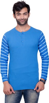 YOUTH & STYLE Solid Men's Round Neck Blue T-Shirt