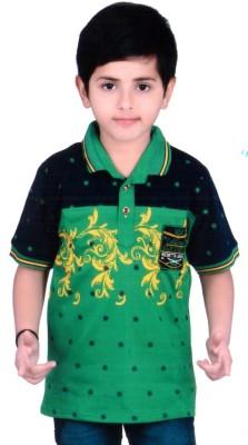KABEER Embellished Baby Boy's Flap Collar Neck Green, Black T-Shirt
