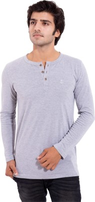 Arbor London Solid Men's Round Neck Grey T-Shirt