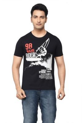 Regnum Printed Men's Round Neck Black T-Shirt