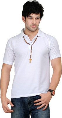 TSX Sportsman Solid Men's Polo White T-Shirt