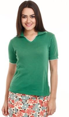Mustard Solid Women's V-neck T-Shirt