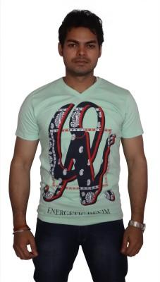 Burnout Printed Men's V-neck Light Green T-Shirt