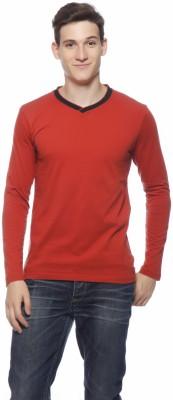 Gritstones Solid Men's V-neck Brown T-Shirt