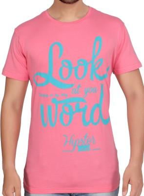 Stoke Graphic Print Men's Round Neck Pink T-Shirt