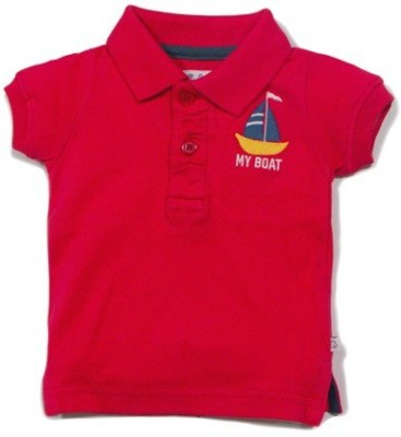 Solittle Embroidered Boy,s Polo Neck Red T-Shirt