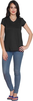 Sweet Dreams Solid Women's V-neck Black T-Shirt