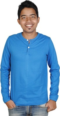 Vilva Solid Men's Henley Blue T-Shirt