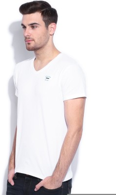 Wrangler Solid Men's Round Neck White T-Shirt