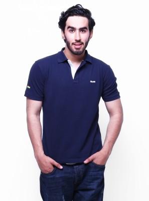 Skatti Solid Men,s Polo Neck Dark Blue T-Shirt