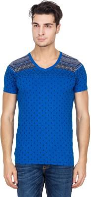Hi Lite Printed Men's V-neck Dark Blue T-Shirt