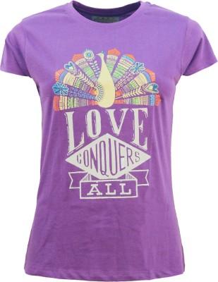 Kothari Printed Women's Round Neck Purple T-Shirt