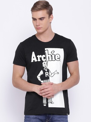 Kook N Keech Archie Printed Men's Round Neck Black T-Shirt