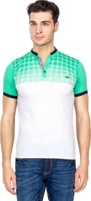 Four Square Printed Men's Henley Green T-Shirt