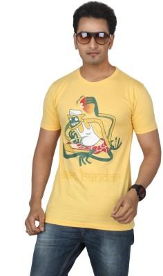 Bandarwalla Printed Men,s Round Neck Yellow T-Shirt