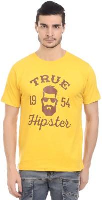 Orange Plum Printed Men's Round Neck Yellow T-Shirt