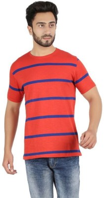 FAME FOREVER Striped Men's Round Neck Red T-Shirt