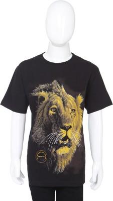 Wild Collection Animal Print Boy's Round Neck T-Shirt