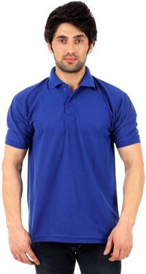 Rockhard Solid Men's Polo Neck Blue T-Shirt
