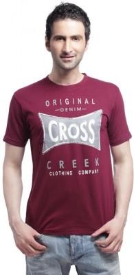 Cross Creek Printed Men's Round Neck Maroon T-Shirt