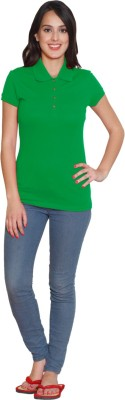 Sweet Dreams Solid Women's Polo Neck Green T-Shirt