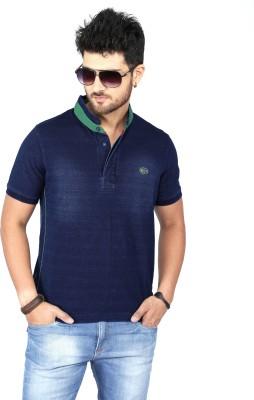 Nostrum Jeans Solid Men's Mandarin Collar Dark Blue, Green T-Shirt