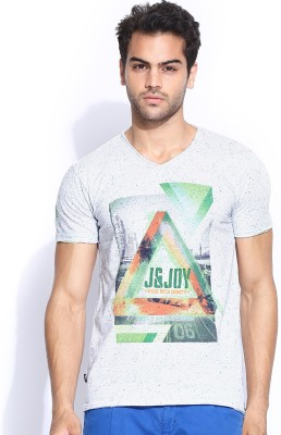 Jn Joy Printed Men's V-neck White T-Shirt