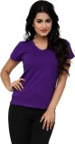 Alba Solid Women's V-neck Purple T-Shirt