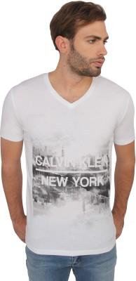 Calvin Klein Printed Men's V-neck White T-Shirt