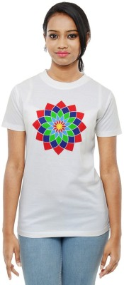 Sunakaran Printed Women's Round Neck White T-Shirt