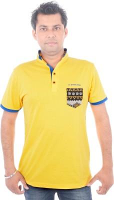 All Ruggby Printed Men's Mandarin Collar Gold T-Shirt
