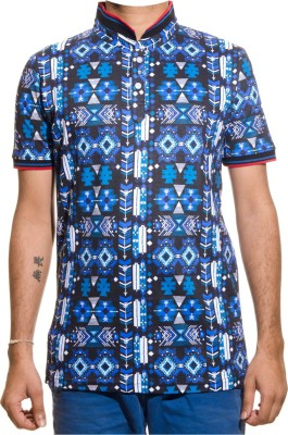 Shootr Geometric Print Men's Fashion Neck Multicolor T-Shirt