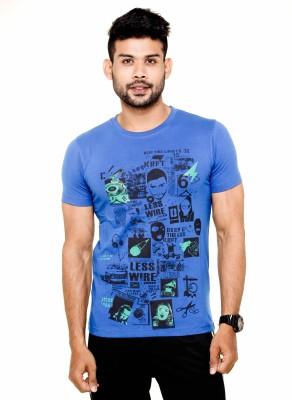 Menthol Printed Men's Round Neck Blue T-Shirt