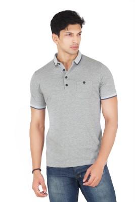 Webmachinez Solid Men's Polo Neck Grey T-Shirt
